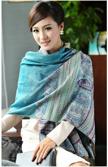 Autumn/Winter classic style solid flowers thick large size women's ladies' fashion pashmina scarf shawl fringed scarves