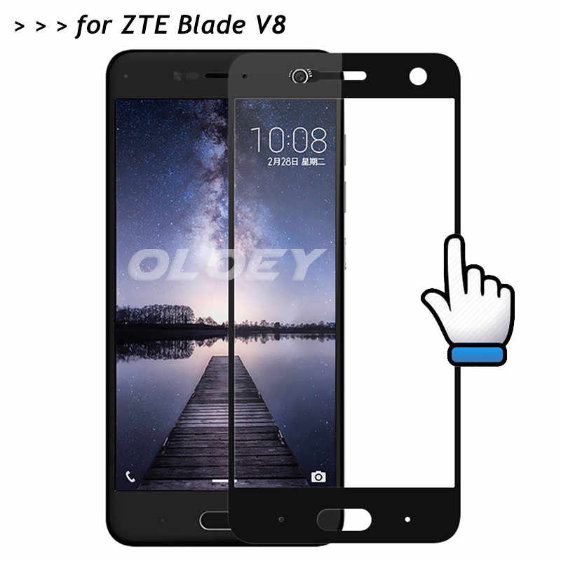 For ZTE Blade V8 Screen Protector Full Cover 3D 9H Front Tempered Glass Covering Protective Film On BladeV8 V0800 5.2 inch Glass