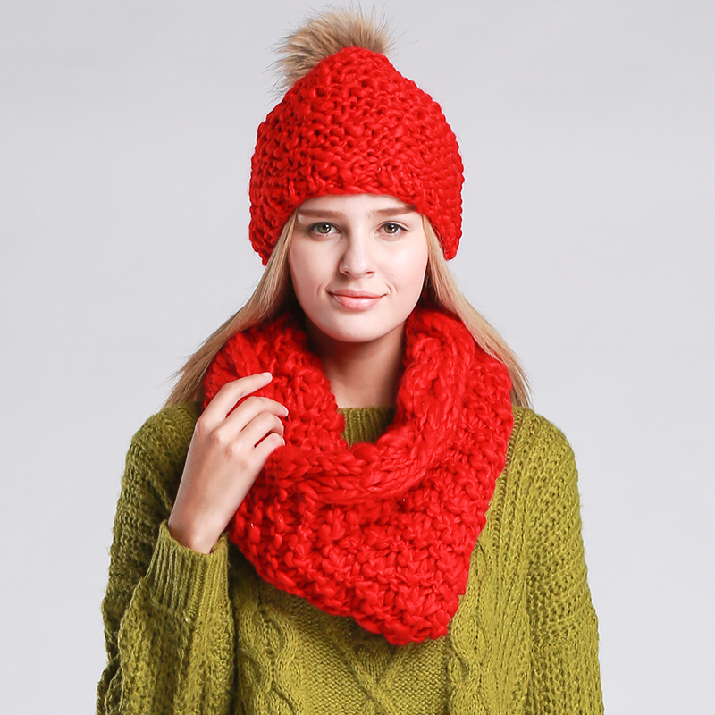 Warm women's winter hats scarves knitted Scarf and Hat Set