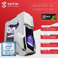 KOTIN Z2 игровой ПК Intel I7 8700 К GTX1060 5 ГБ 180 ГБ SSD 1 ТБ HDD настольных игр ASUS B360M 8 ГБ Оперативная память компьютера PUBG Бесплатная клавиатура