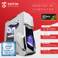 KOTIN Z2 Gaming PC Intel I7 8700K GTX1060 5GB GPU 180GB SSD 1TB HDD Gaming Desktop ASUS B360M 8GB RAM Computer PUBG 4 fans