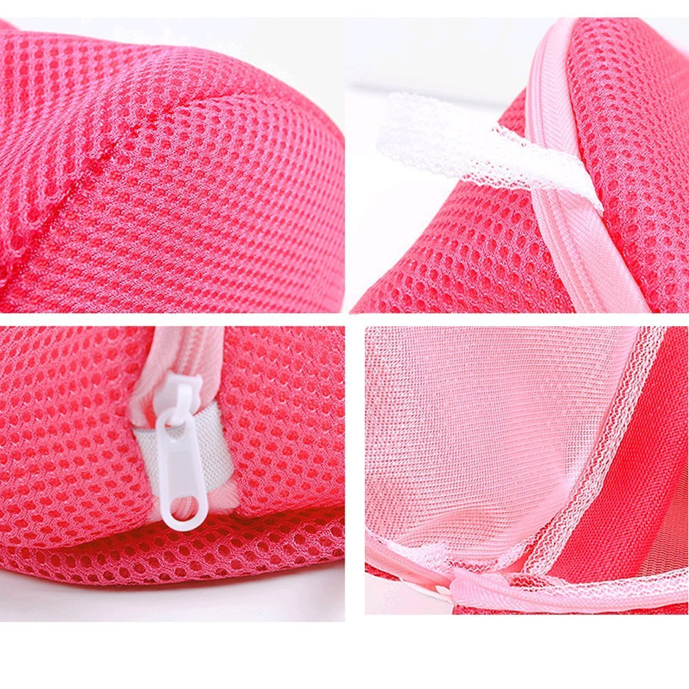 TFBC Women Bra Laundry Lingerie Washing Hosiery Saver Protect Aid Mesh Bag Cube -Pink