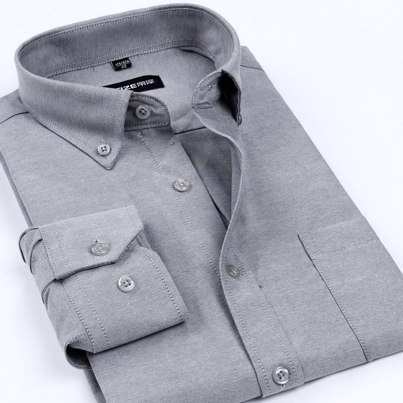 2018 Nuovo Arrivo Degli Uomini Di Oxford Marca Camicie Eleganti Degli Uomini Non-ferro Camicia Di Affari Di Colore Solido Formale Stile Classico Vestiti Per Gli Uomini