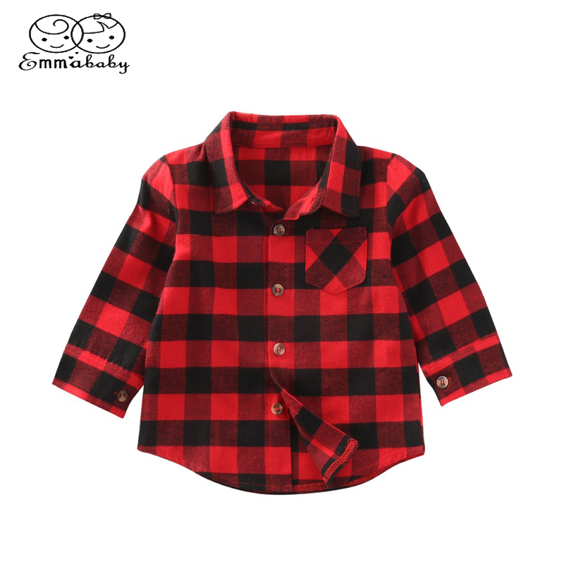 Trendy Hot Sale Plaid Shirts Child Kid Boys Girl Long Sleeve Buttons Pocket Tops Shirt Turn Down Collar Blouse Casual pockets turn down collar long sleeve men s shirt