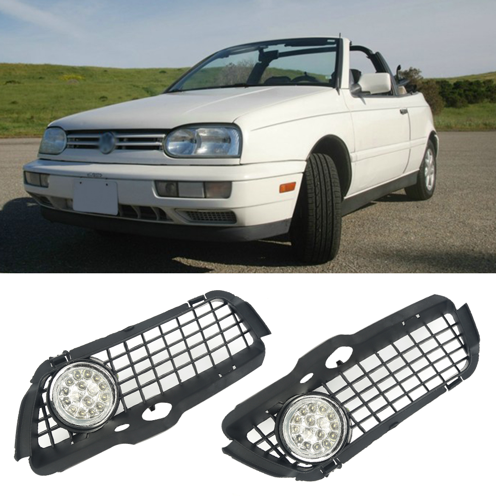 Liplasting Left&Right Car Fog Light Assembly w/ Bumper Grille Running Driving Headlight for 1992-1998 VW Jetta Golf MK3