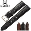 MAIKES 14mm-24mm HQ Genuine Alligator Leather Strap Watch Band Black Accessories Men Watchbands Bracelet For Longines
