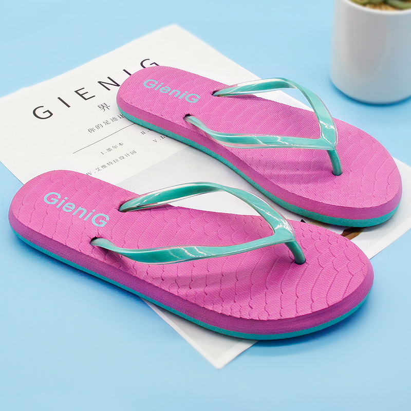 Gienig 2018Slippers women flip flop soft sole Korean version of the casual sandals flip-flops for home slippers 2016 summer korean version of the large size flip flops women slippers with a simple slippery beach sandals