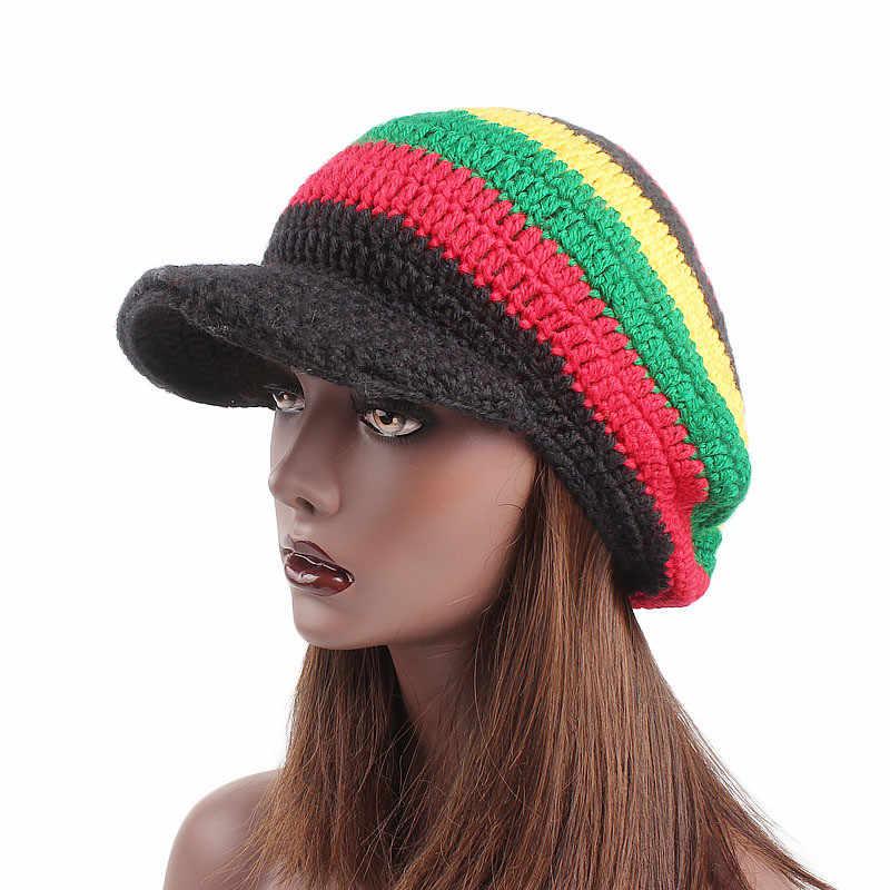 492a68ca96ac50 ... Jamaica Reggae Gorro Rasta Style Hat Hip Pop Men's Winter Hat Red  Yellow Green Black Fall ...