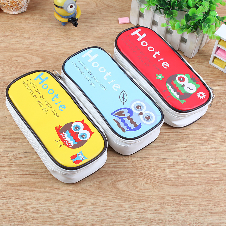Hot Sales Kawaii Owl Large Capacity Pu Leather Pencil Case Stationery Storage Organizer Bag 0803