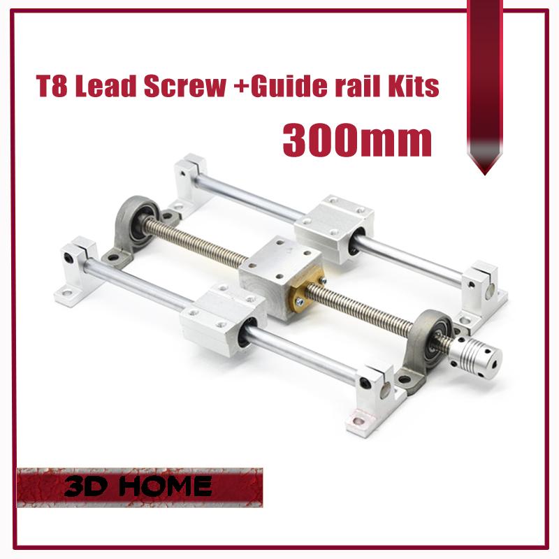 Prix pour 3D imprimante Guide rail pièces-T8 Plomb Vis 300mm + axe optique 300mm + KP08 palier support + vis écrou de montage de logement support