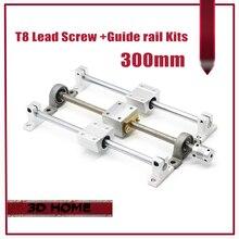 3D imprimante Guide rail pièces-T8 Plomb Vis 300mm + axe optique 300mm + KP08 palier support + vis écrou de montage de logement support