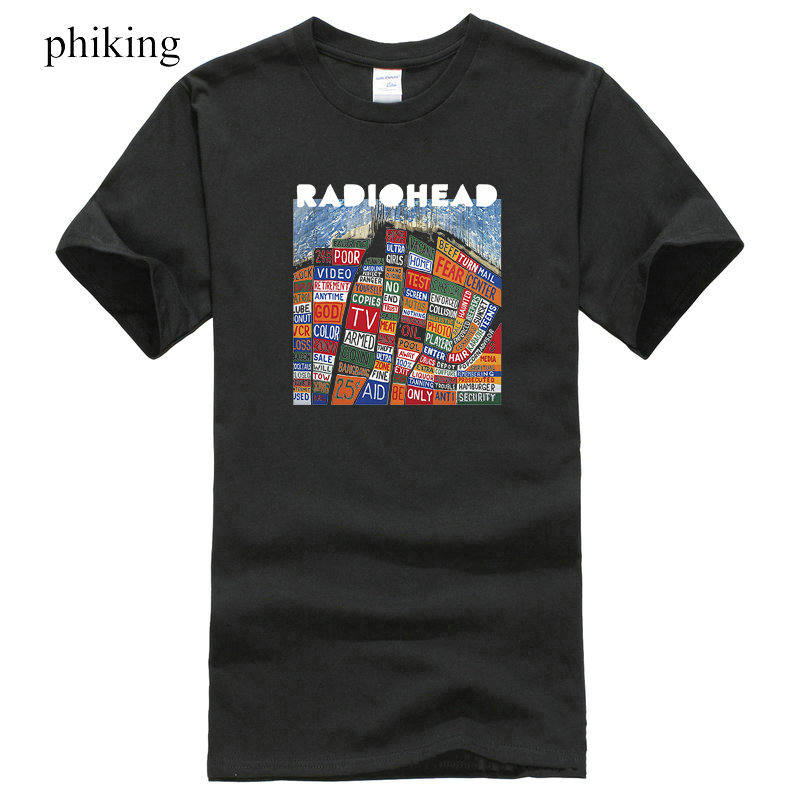 Design Own T ShirtCrew Neck Radiohead Hail To The Thief T-Shirt Black Graphite Navym Khaki Sizes S To 3XL Short Design T Shirts