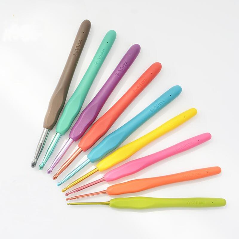 Noul 2.0mm-6.0mm 9pcs Multicolor Ace de tricotat Metal colorate Hook - Arte, meșteșuguri și cusut