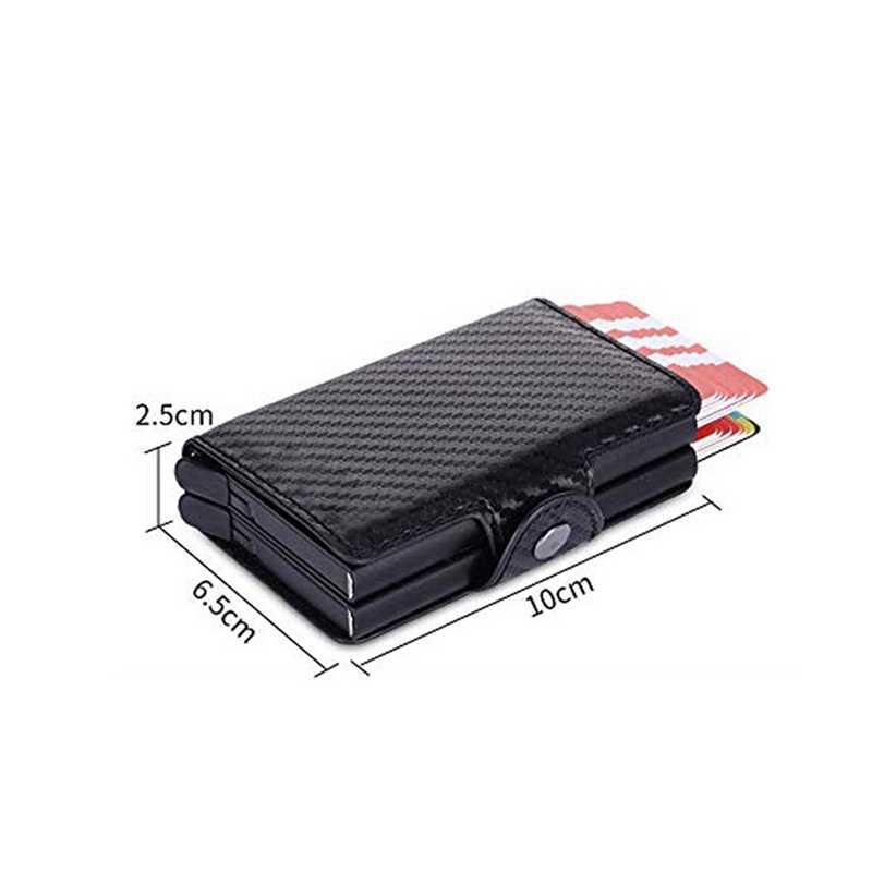 Мужская двойная алюминиевая ремка для телефона кожаный держатель кредитной карты RFID металлический кошелек автоматический всплывающий Противоугонный мужской кошелек деловой ID cardholder