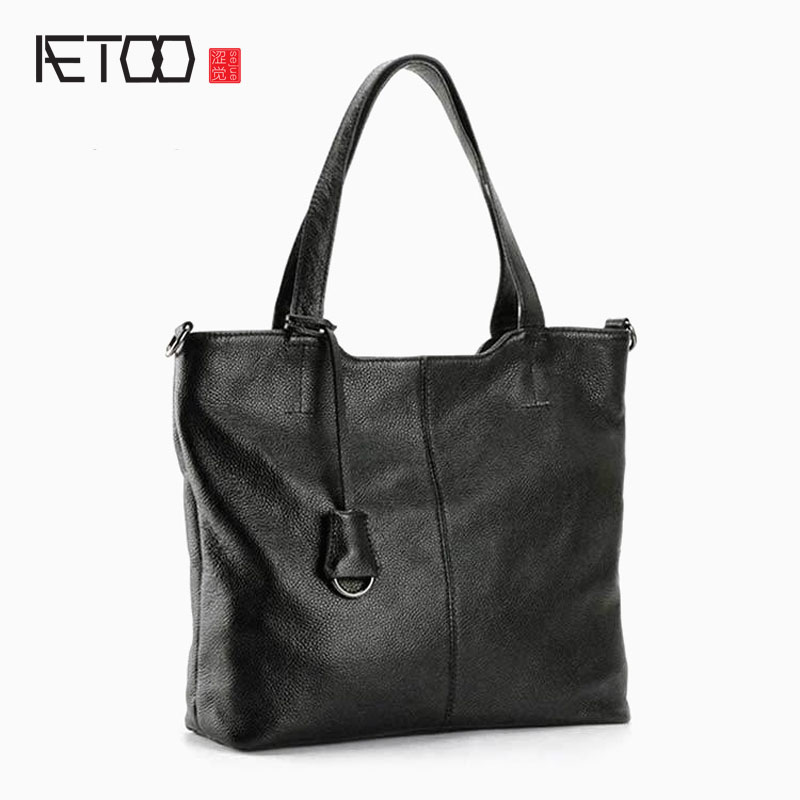 AETOO Leather new handbags Europe and the United States fashion simple handbag head layer of cowhide diagonal shoulder bag handb europe and the united states in the summer of new crystals with dew toe hit the color of the air after the air buckle with a thi