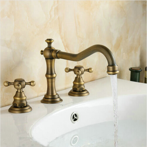 New Arrival Classic Antique Brass Deck Mounted Shower Bathtub Faucet Wholesale Double Handle Basin Sink Mixer Taps BF1001