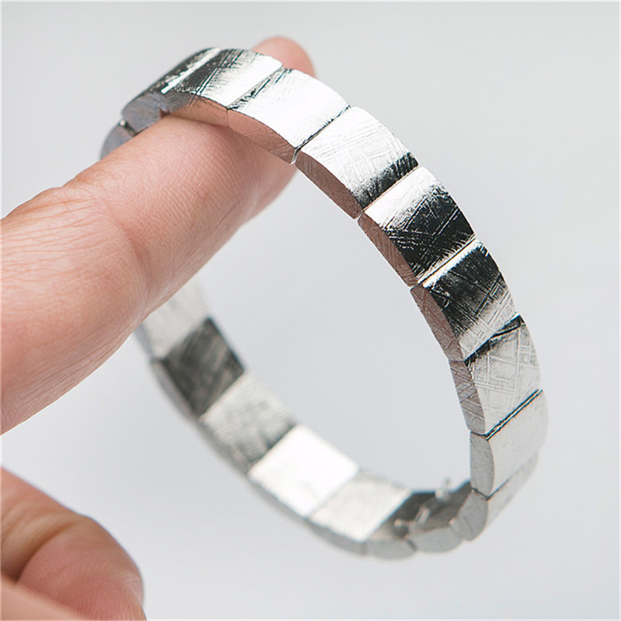 Image 5 - Genuine Natural Gibeon Iron Meteorite Silver Plated Rectangle Beads Women Man Bracelet-in Strand Bracelets from Jewelry & Accessories