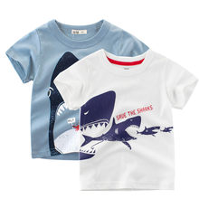 Summer 2020 Boys T Shirt Clothes Children Kids Baby Boys Cute Cartoon Shark Print T-shirt Tee Tops Clothes Fashion Summer Tops(China)
