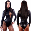 PVC Leather Lingerie 2017 Hot Sexy Drawstring Hollow Out Lingerie Light Leather DS Stage Pole Dance One pieces Lingerie