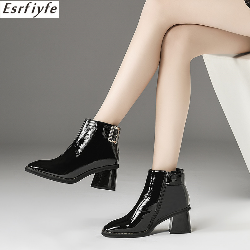 ESRFIYFE 2018 New Arrival Women Ankle Boots Genuine Leather Fashion Shoes Woman Zip High Heels Autumn Winter Boots Female BuckleESRFIYFE 2018 New Arrival Women Ankle Boots Genuine Leather Fashion Shoes Woman Zip High Heels Autumn Winter Boots Female Buckle