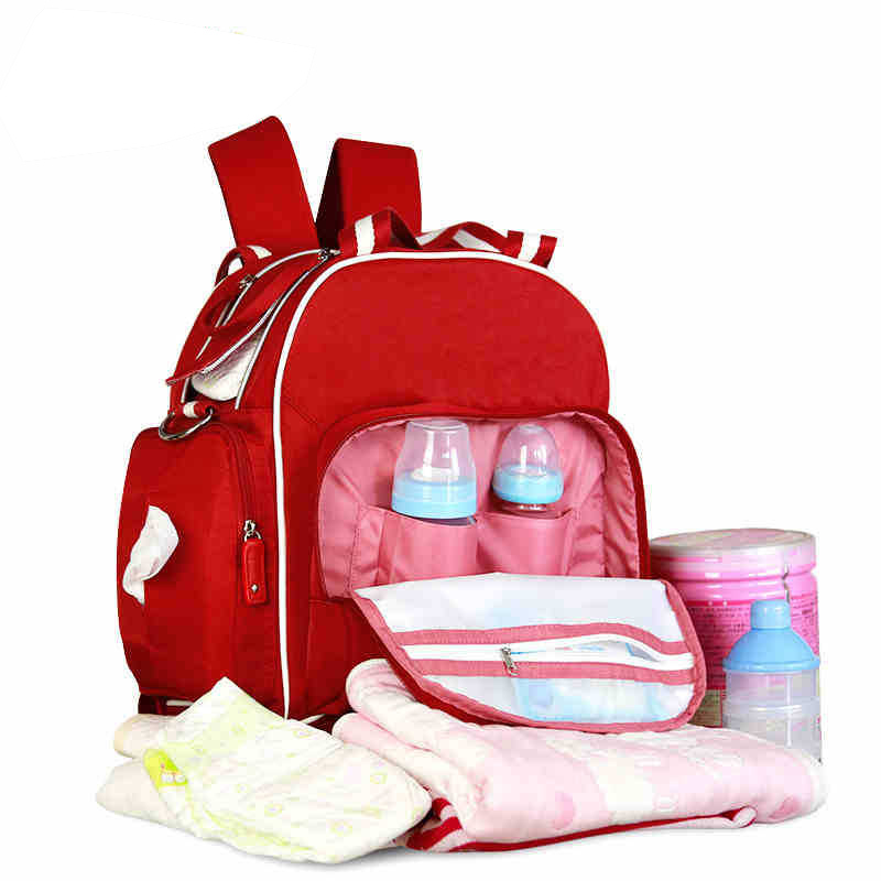 Brand Multifunctional Baby Diaper Bags Waterproof Mother Bag Nappy Maternity Backpack For Diapers Large Capacity Insulation Red
