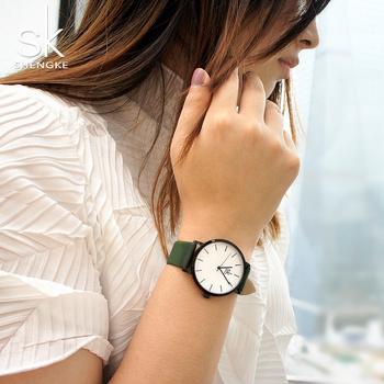 2019 Shengke Change Color Quartz Watch Women Casual Fashion Japan Leather Band Analog Wrist Watch Creative Design Reloj Mujer sk fashion elegant women watch faux leather watchband square dial arabic number analog clock quartz wrist watch reloj mujer