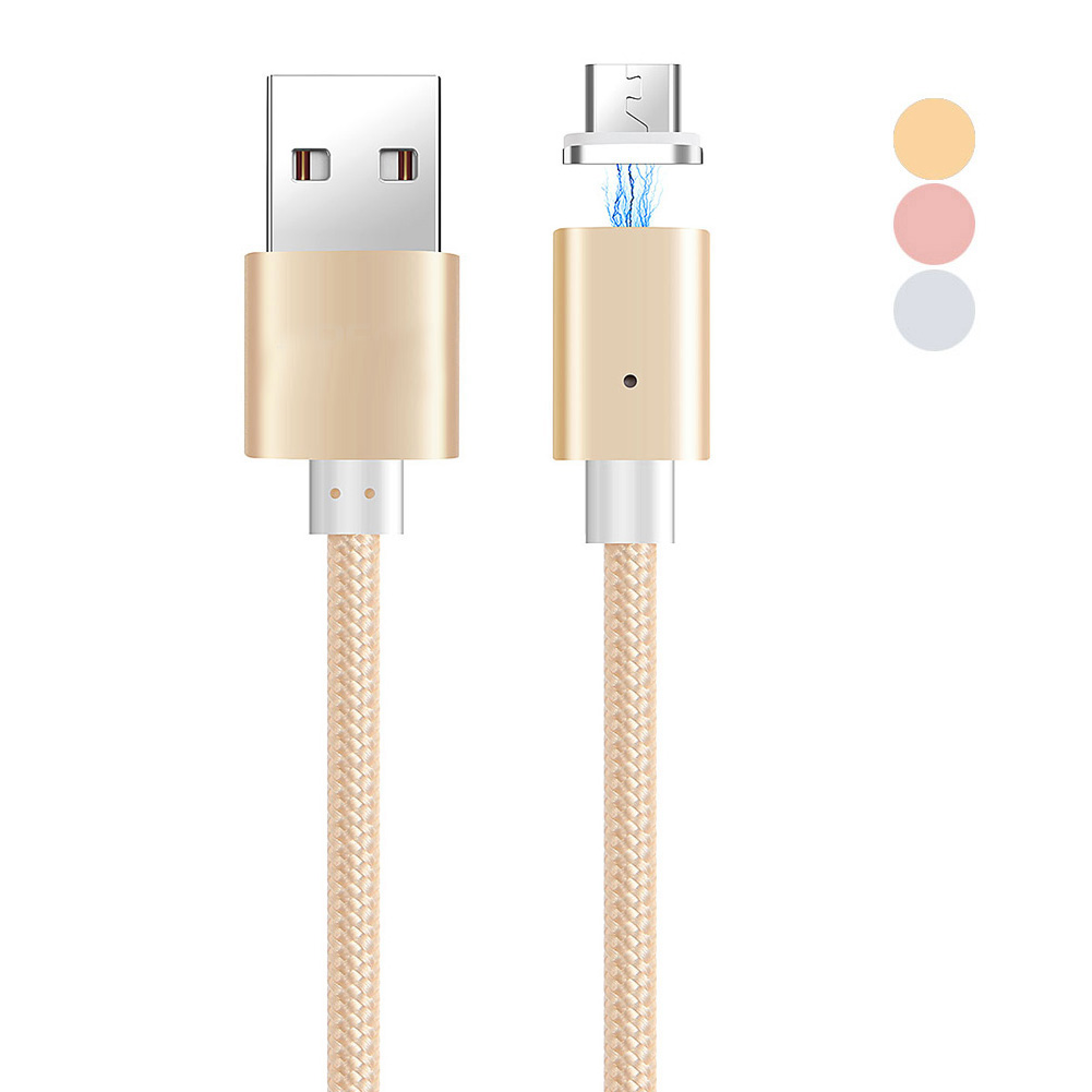 Magnetic Mini Plug Data Sync Cable Micro USB Charging Cord Braided Wire Line w/ LED Blue Light Indicator Gold/Silver/Rose bendable usb cable data sync charging cord flexible short micro to usb charger data transfer cable stand holder wire
