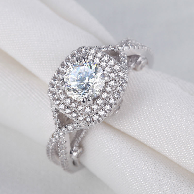 2.4 Ct Round AAA CZ Solid 925 Sterling Silver Halo Wedding Engagement Ring