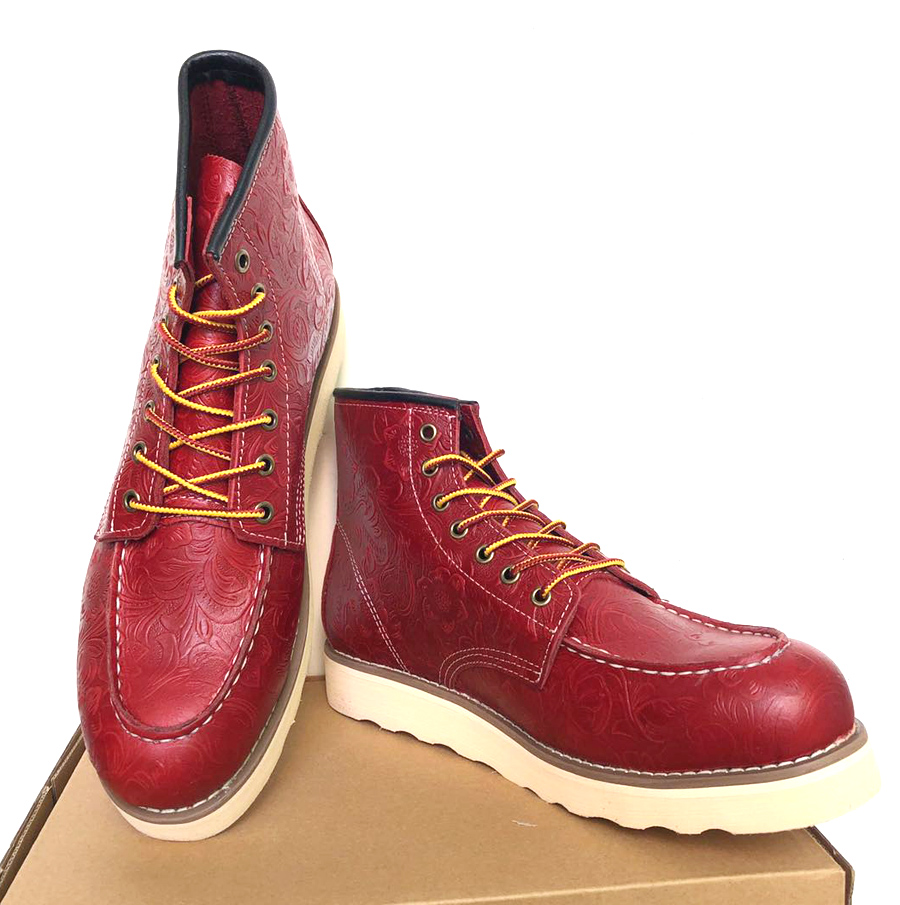 Micholediys 2019 New Arrival Handmade Vintage High-rise Red Motorcycle Wing Best Quality  British Men's Boots Lace Up Shhoes