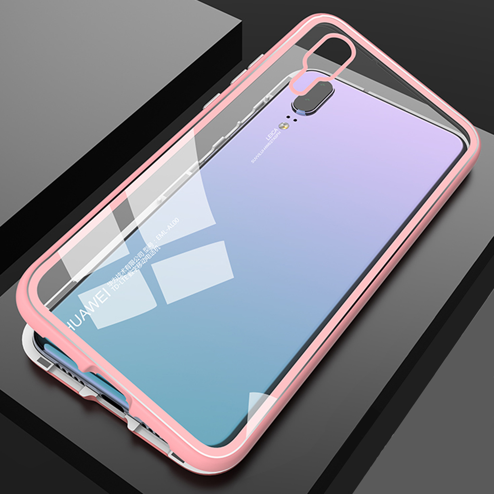 Magnetic Flip Phone Case with screen protector for HuaweiP20 Pro Clear Tempered Glass Magnet Case for huawei p20 pro Metal Cover (18)