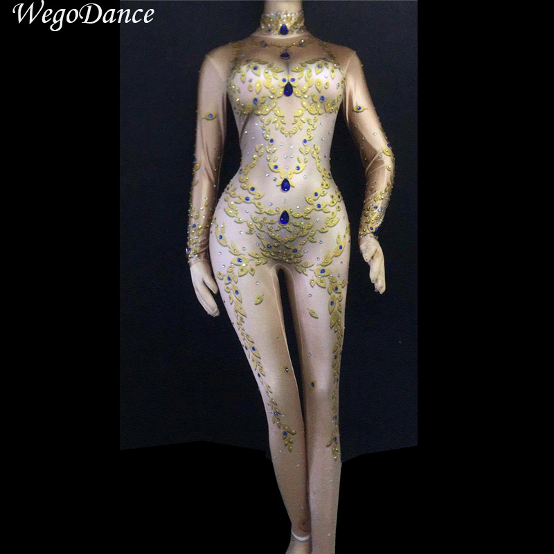 Apprehensive Colorful Rhinestones Jumpsuit Women's Dance Show Birthday Celebrate One-piece Stretch Bodysuit Outfit Singer Sexy Romper