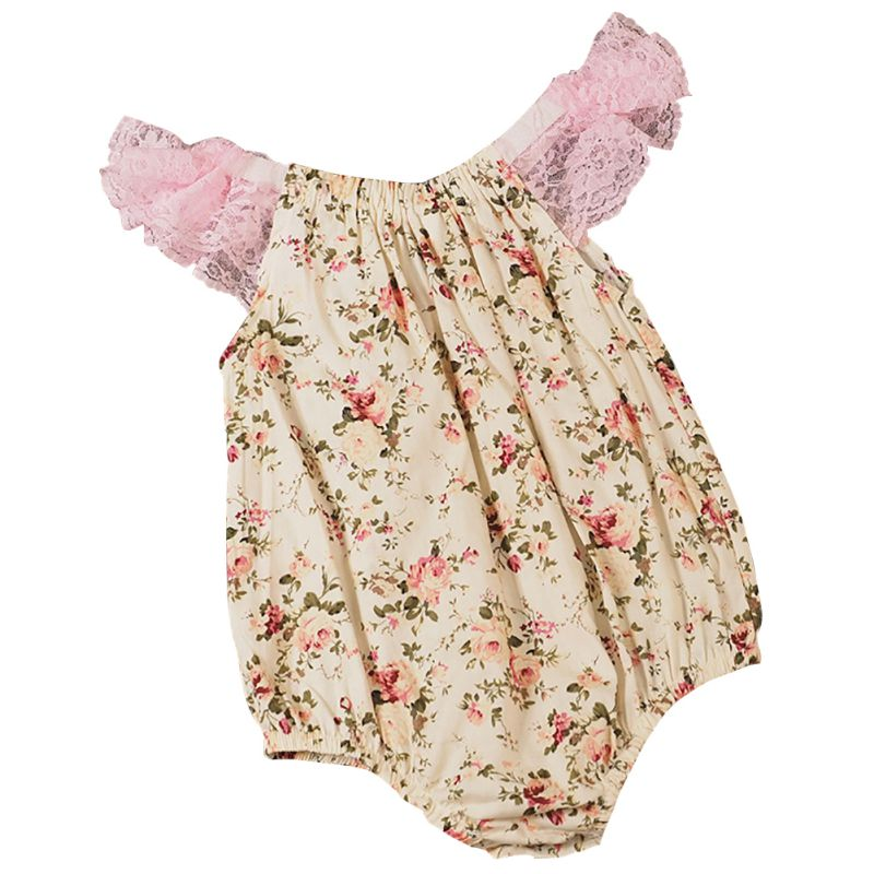 2018 WEIXINBUY Baby Newborn Jumpsuit Floral Print Lace Romper Infant Baby Girl Outfits Sunsuit