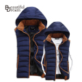 Hot Sale Stars Loves Brand New Arrival Slim Man Vest 2015 Autumn Winters Hooded Cotton Padded Men's Vests 4 Colors 5 Size