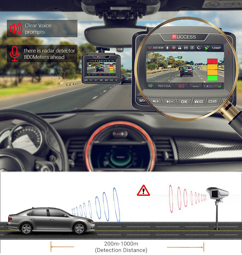 Ruccess Car DVRs 3 in 1 Radar Detector Dual Lens Full Hd 1080P Car Dvr 1296P Car Camera GPS Video Recorder Anti Radar Dash cam12