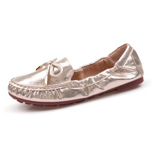 YeddaMavis Womens Shoes Spring Gold/silver Glitter Roll Up Ballet Flats Loafers Women Bow Shallow Soft Bottom