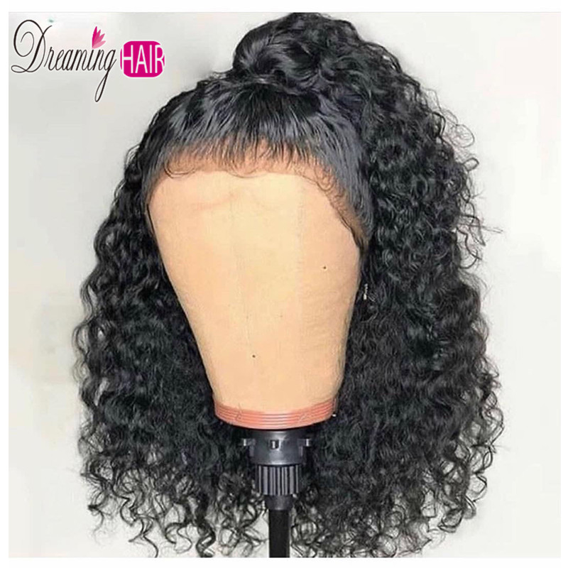Peruvian Deep Curly Short Lace Front Human Hair Wigs Bob Kinky Curly Frontal Wig 1b 30 Mixted Color Water Wave For Black Women