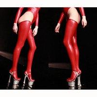Большие размеры облегающие высокие блестящие сексуальные чулки черные масляные Wetlook ботфорты кожаные латексные Medias Negras Chaussette Haute Red