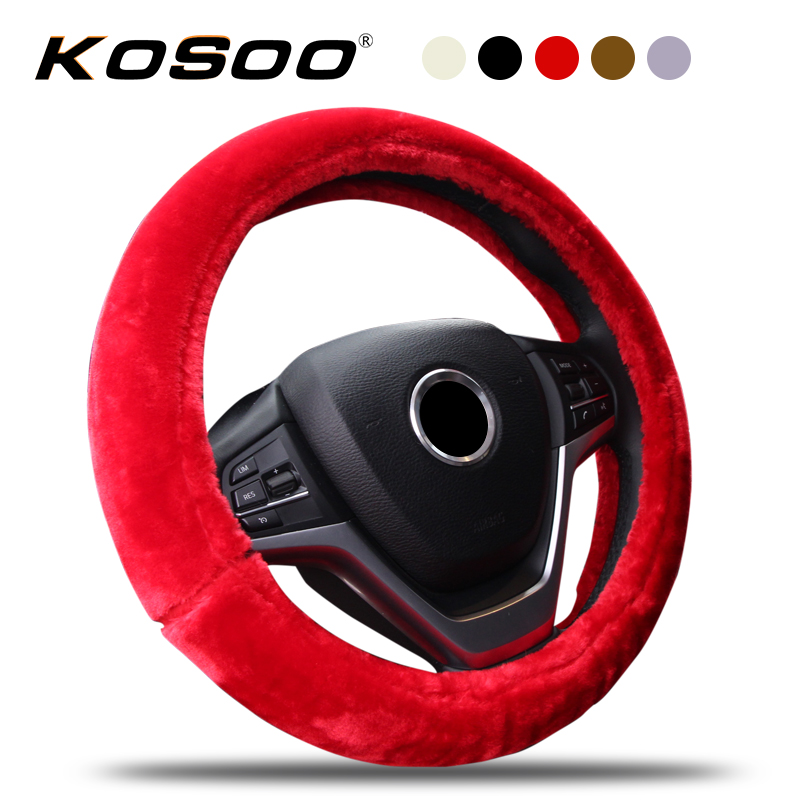 KOSOO Car Thick Plush Warm Steering Wheel Covers Winter Comfortable Supplies Universal 38CM Auto Interior Accessories Styling