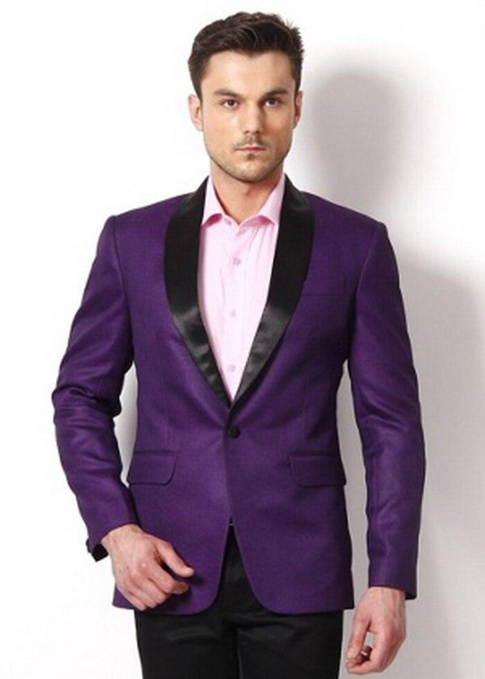 Мужская мода фиолетовый куртка Черная шаль нагрудные Slim Fit Индивидуальные жениха Пром Blaze 2 шт. смокинг Юбочные костюмы для женщин костюм Homme