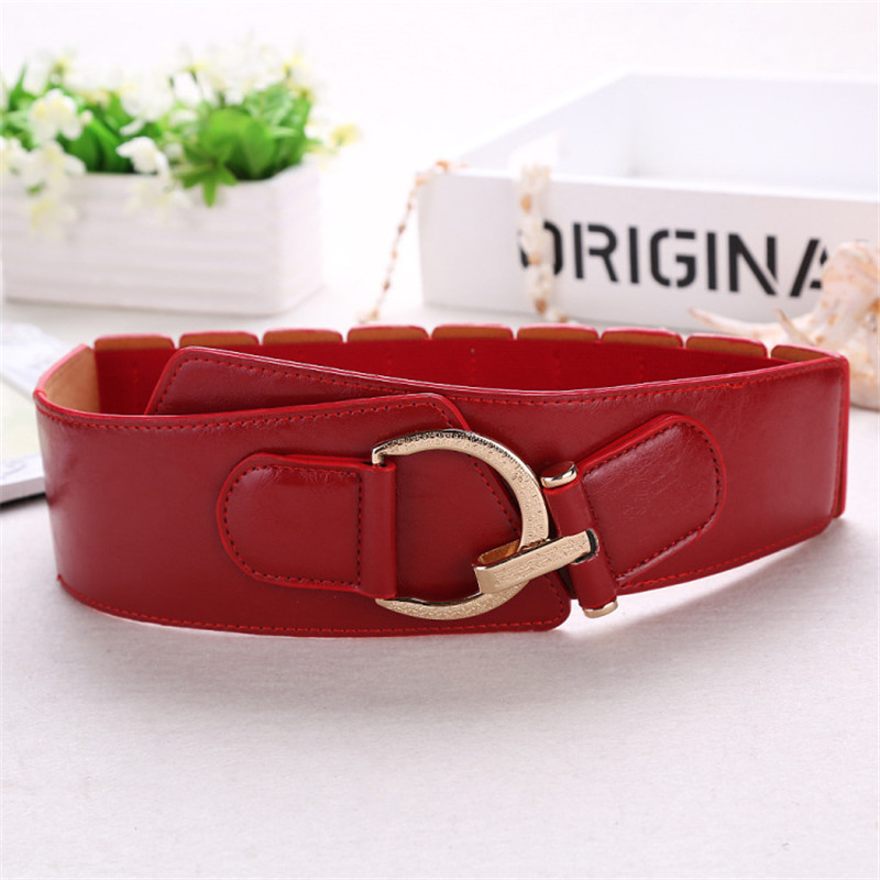 New High-end Fashion Red Black Genuine Leather Belt Dress Coat Decorated Ceinture Luxury Girdle Red Wide Belt Cummerbunds