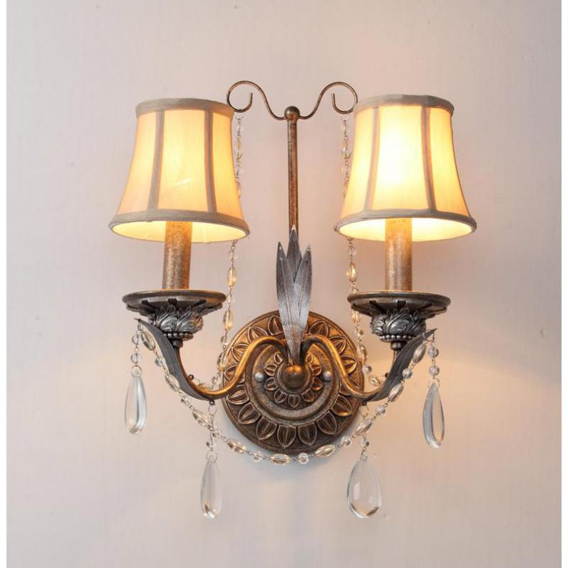 Bronzed Wrought Iron Wall Lamp sconce for Balcony Dining room Hallway Bedroom antique 2 arm Crystal Wall candle Light with shade