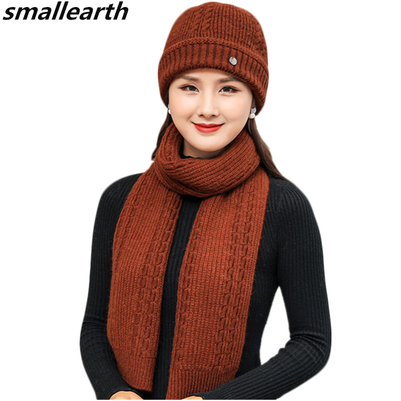 New Winter Women Rabbit Fur Hat Scarf Set Lady Warm Wool Knitted Plush Hat Scarf Sets Crochet Bonnet Mom Caps Scarf Shawl Gifts