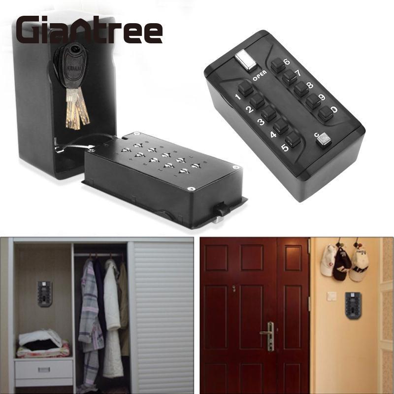giantree KS006 Storage Organizer Boxes With 4 Digital Wall Mounted Keys Hook Metal Alloy Portable Key Safe Box Storage Money