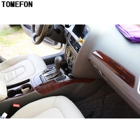 TOMEFON For Audi A4L A4 L 2009 2016 ABS Plastic Wood Paint Interior Parts Window Switch Handle Trim Front Gear Shif Panel Cover
