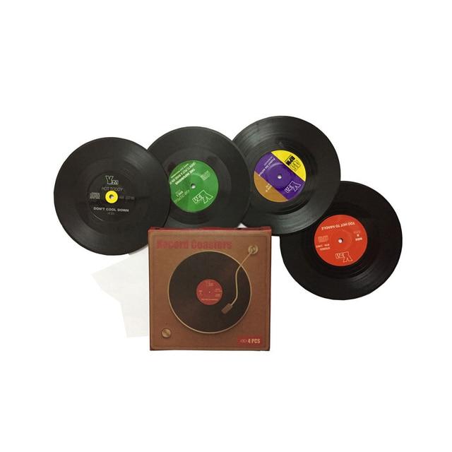 Record Coaster Table Cup Place Mats Creative Plastic Vinyl Heat-resistant 2 / 4 / 6 Pieces 1