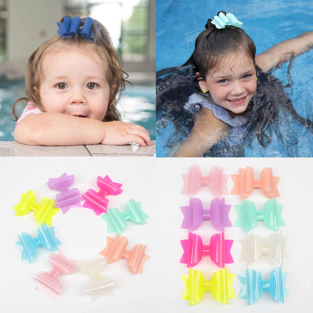 Oaoleer Hair Accessories 3 Inch Waterproof Hairgrips Jelly Bows Hairbows Hairpins Dance Party Hair Clip Swimming Pool Bows