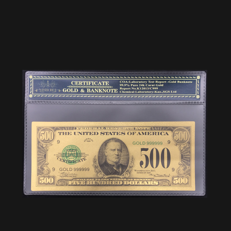America 24k Gold Banknotes US 500 Dollar Banknotes in 24k Gold Fake Paper Money With COA Frame For Collection