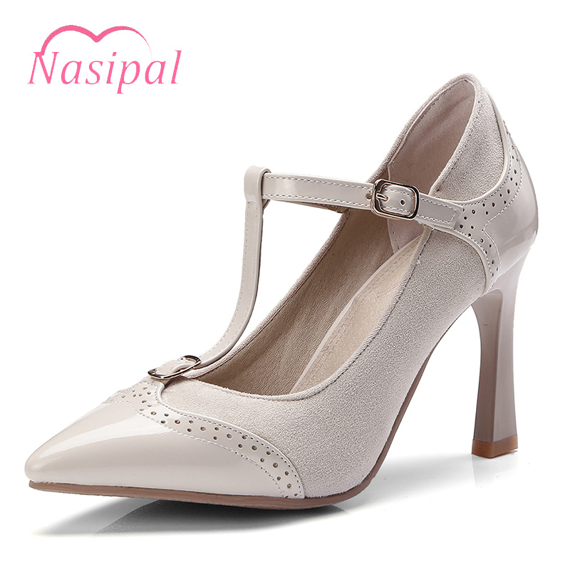 Nasipal En Pointu Sangle Mujer C324 Printemps black Chaussures Red Dames Verni Gladiateur Hoof Talons apricot Sapatos strap Boucle Toe Pompes Femmes Cuir T Ok8Pwn0