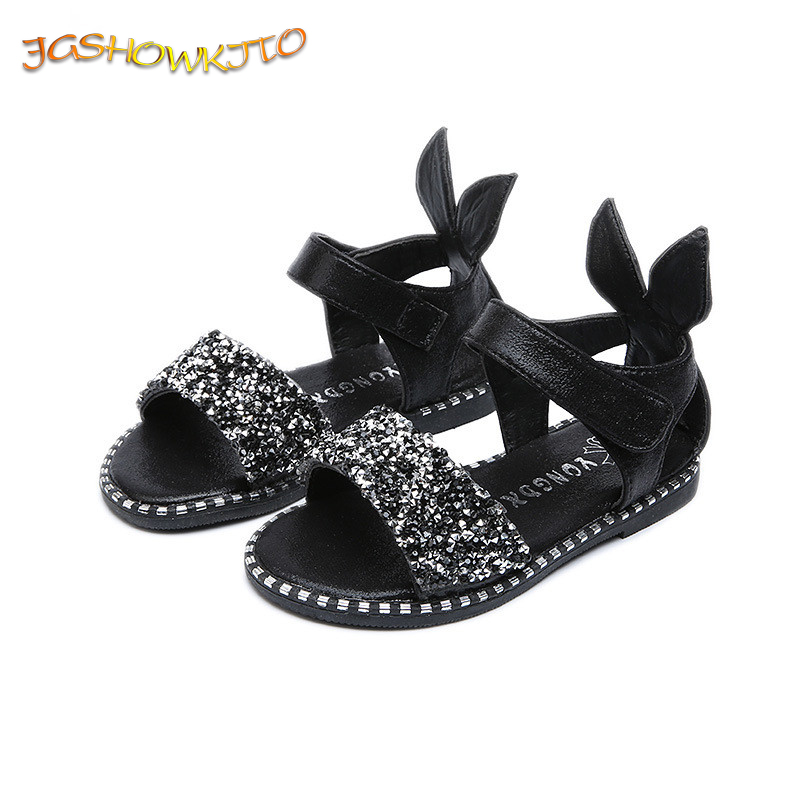 JGSHOWKITO 2019 Hot Sale Baby Girl Sandals Fashion Bling Shiny Rhinestone Girls Shoes With Rabbit Ear Kids Flat Sandals 13-22CM(China)
