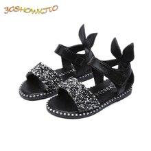 JGSHOWKITO 2019 Offre Spéciale Bébé Fille Sandales De Mode Bling Brillant Strass Filles Chaussures Avec Oreille de Lapin Enfants Sandales Plates 13- 22 cm